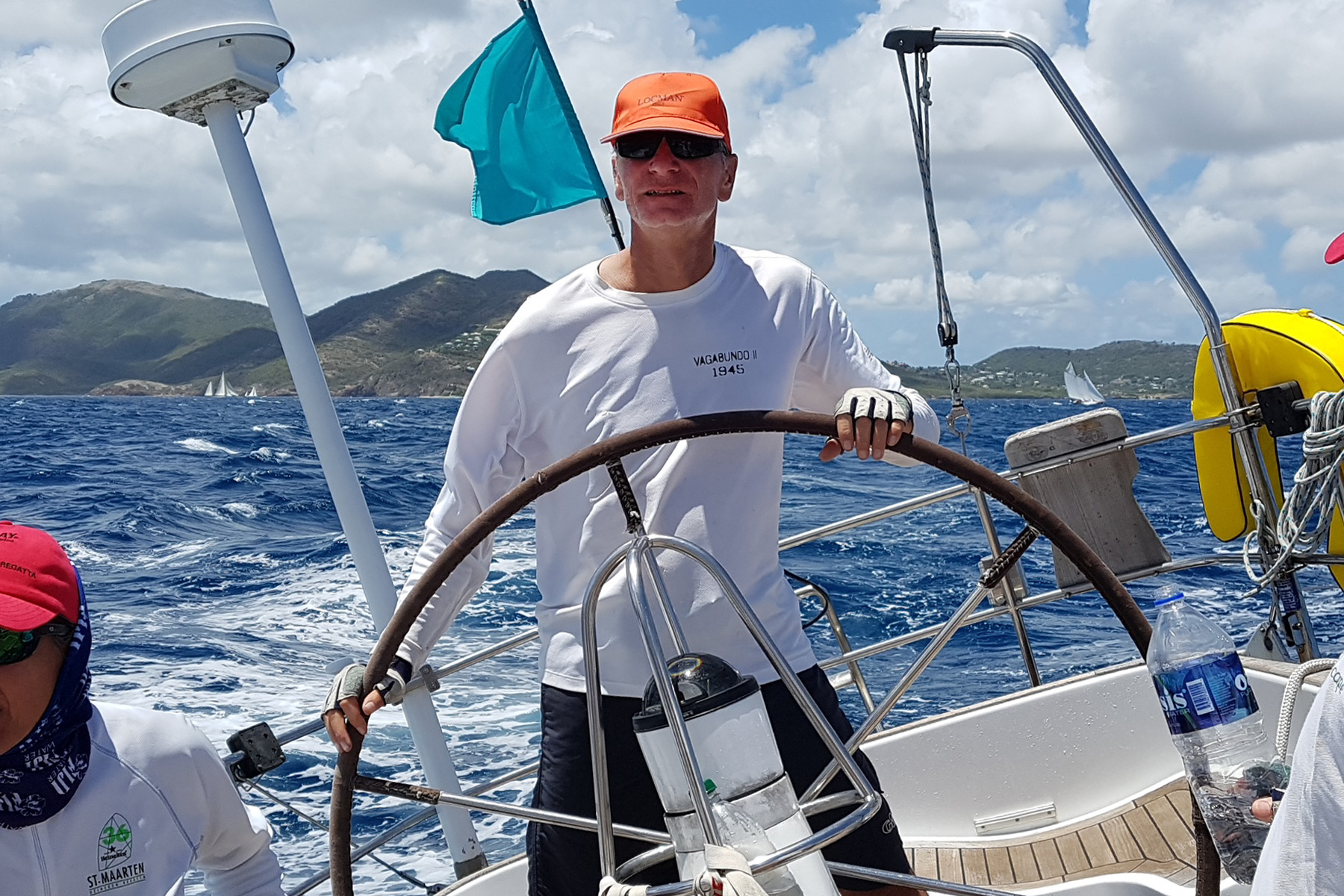 Skipper Markus Bocks at the helm of the Montana