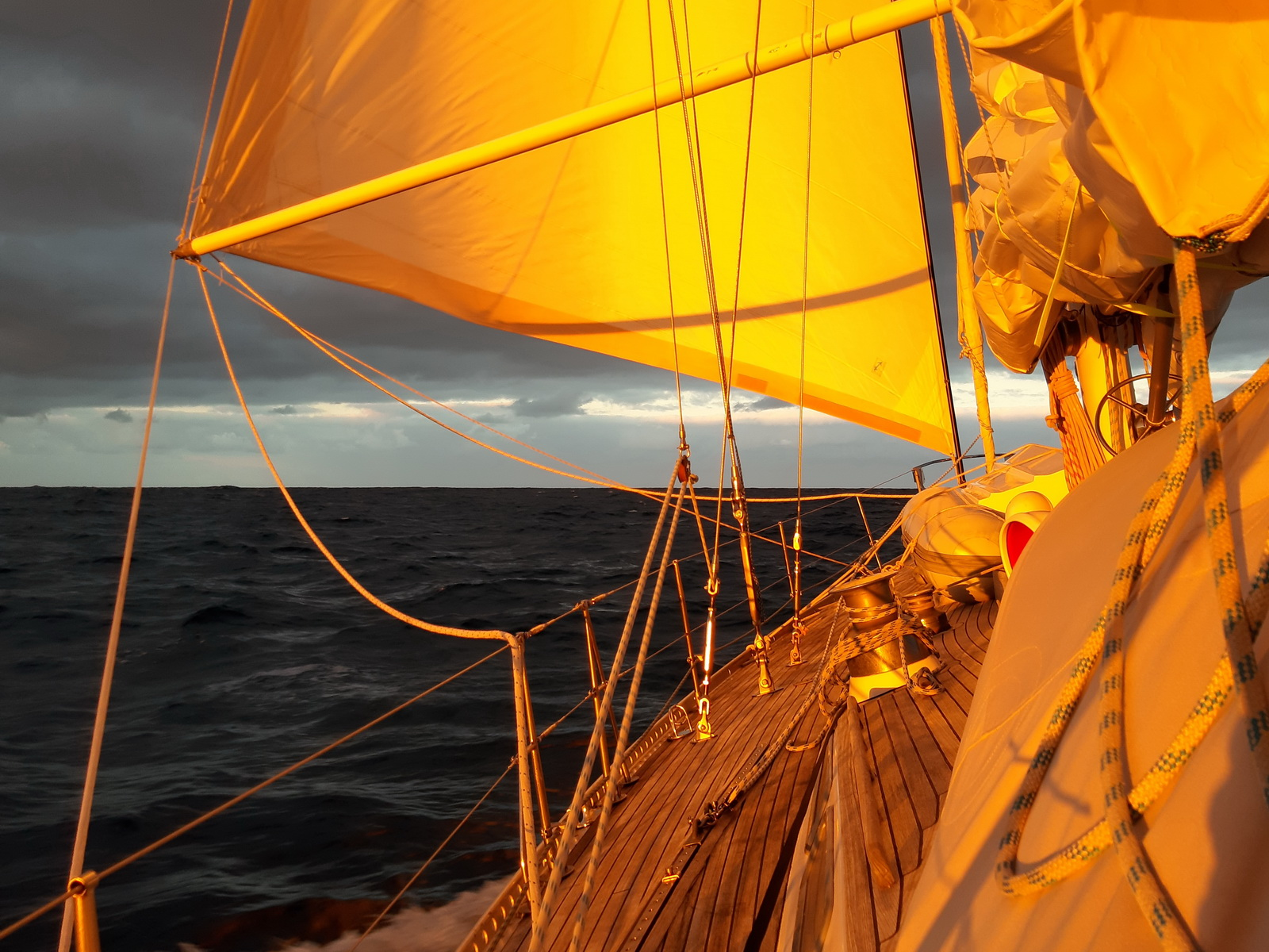 Sunrise on the SY Montana, Swan 48 at the Bay of Biscay