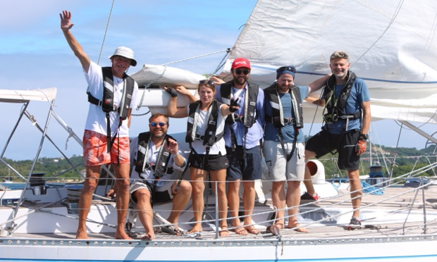 Crew der SY Montana, Swan 48 on Arrival in St. Lucia at the ARC 2020