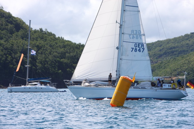 SY Montana, Swan 48 on the finish line in St. Lucia at the ARC 2020