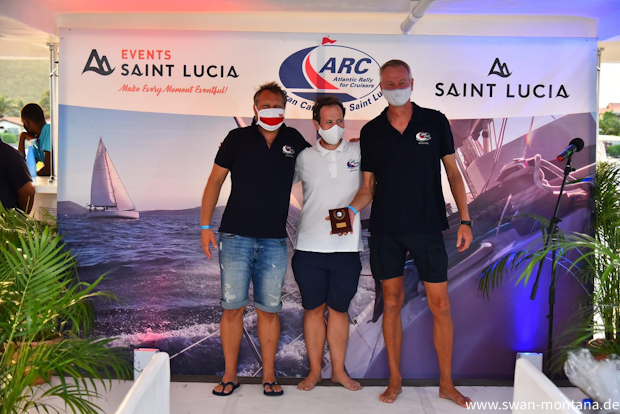 Crew of SV Montana, Swan 48 at the award ceremony in St. Lucia at the ARC 2020